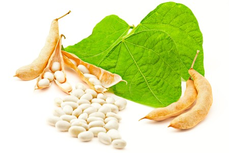 Kidney beans with leaves on white photo