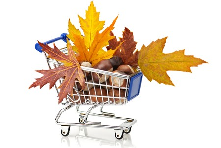 Autumn Shopping: shopping cart full of chestnuts and autumn maple leaves photo