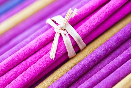 Macro background of aroma incense sticks. Shallow depth of field photo