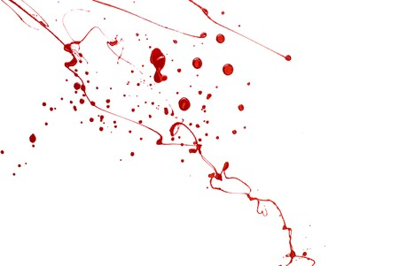 Bloody Background. Blood imitating red paint splash and drops on white photo