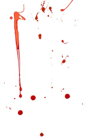 bleeding: Bloody Background. Blood imitating red paint splash and drops on white
