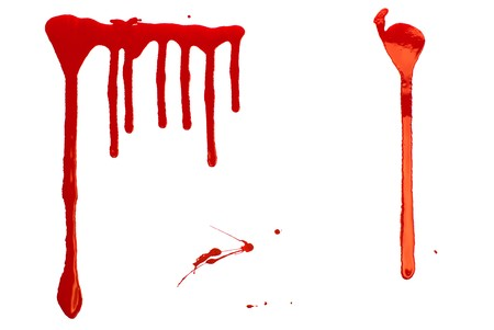 ink drop: Bloody Background. Blood imitating red paint splash and drops on white