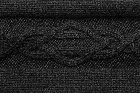 Black knitting background of handmade woolen pattern photo