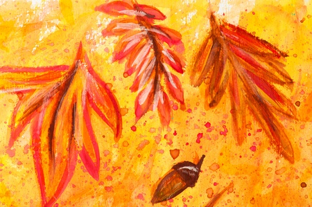Macro detail of grunge watercolor painted autumn floral background with leaves and acorns photo