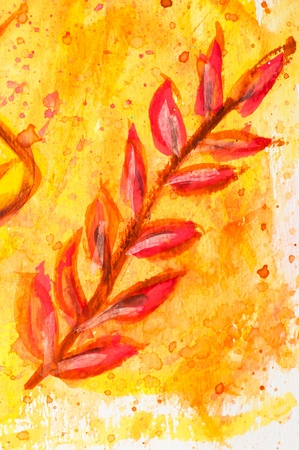 Macro detail of grunge watercolor painted autumn floral background with leaves photo