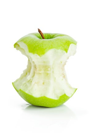 One bited green apple fruit on white background photo