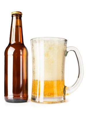 Bottle full of beer and mug with fresh beer and foam on white background  photo