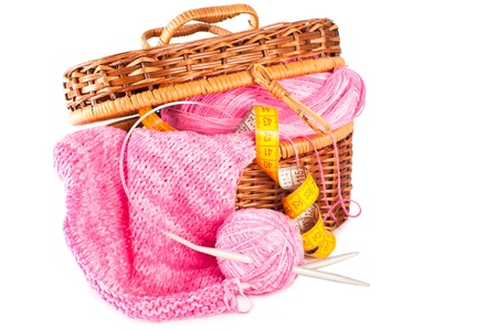 basket embroidery: Handmade needle knitted pink canvas, yarn ball and and measuring tape inside basket