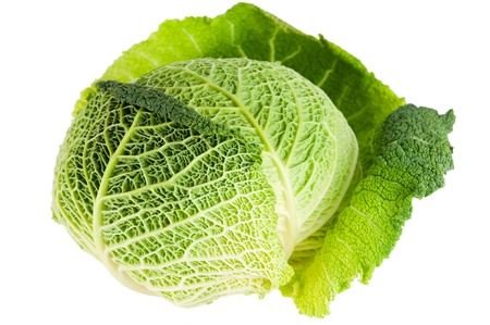 Macro detail of savoy cabbage on white background