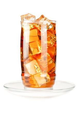 Glass of iced tea with ice cubes on white background