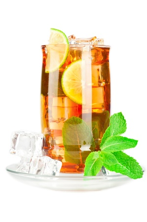 Glass of iced tea with ice cubes, lime and mint on white background Stock Photo - 9626156