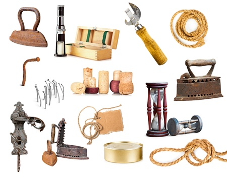 Set of different old and used things and tools on white Stock Photo - 9699743