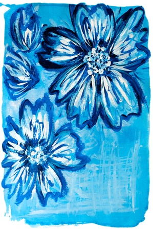 Blue flowers. Macro detail of blue watercolor painted floral background  photo