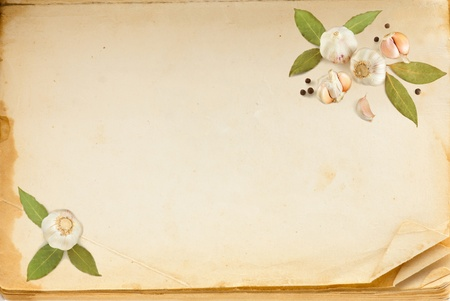 Old book page, and spices with space for your text photo