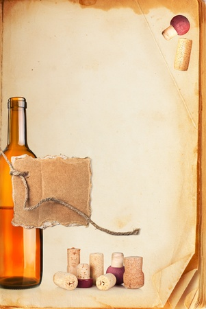 Wine bar list menu. Old book page, bottle of wine, cork and cardboard blank on rope with space for your text photo