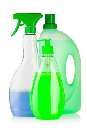 House cleaning supplies. Plastic bottles with detergent and liquid soap isolated on white background photo