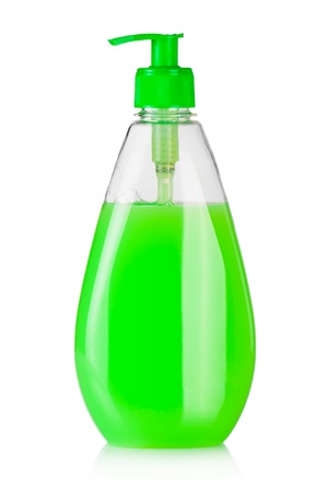 Huis schoonmaakmiddelen. Plastic fles met vloeibare zeep geïsoleerd op witte achtergrond Stockfoto