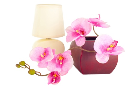 home accessories: Modern table lamp and branch of artificial orchid flower in pot isolated on white