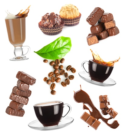energy mix: Hot coffee, beans and chocolate candy set on white background