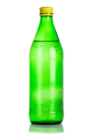 green glass bottle: Green glass bottle of mineral water on white background