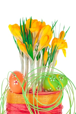 Easter eggs and spring crocuses in flower pot with bright decoration isolated on white background photo