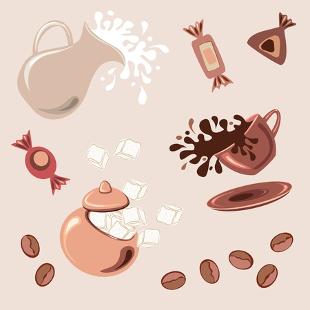 Breakfast with coffee, fresh milk, sugar cubes and chocolate candy Vector