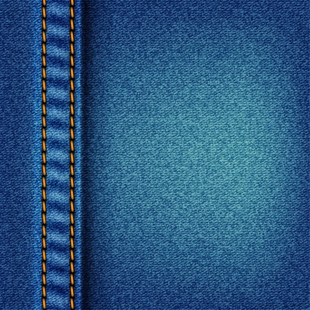 Jeans texture with stitch. Fabric blue jeans Vector