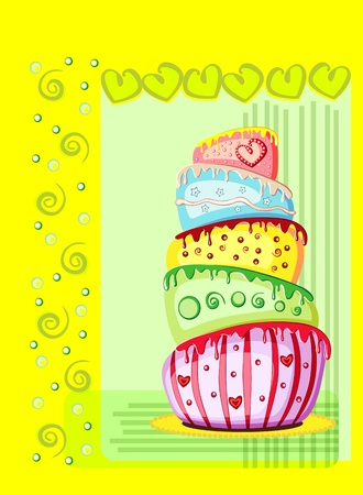 Bright birthday cake  Postcard with space for your text  Vector eps10 illustration Stock Vector - 13394689