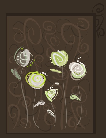 Abstract roses postcard. Floral pattern Stock Vector - 13540819