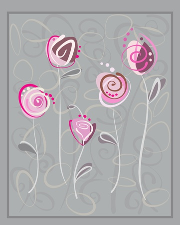 Abstract pink roses postcard on gray background. Floral pattern with space for text Vector