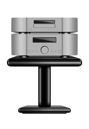 hifi: Hi-Fi CD player on rack. Realistic eps10 vector illustration of audio system on white background
