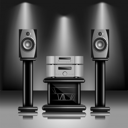 sound system: Audio de alta fidelidad de sonido. Ilustraci�n realista de los equipos de m�sica moderna en el interior interior de moda