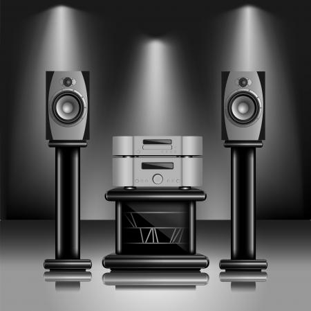 hifi: Hi-Fi audio sound system. Realistic illustration of modern music equipment inside fashionable interior