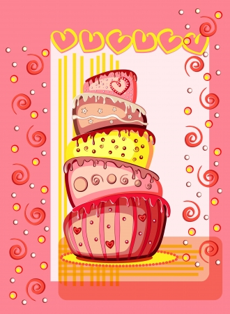 Bright birthday cake. Postcard with place for your text. Stock Vector - 13805532