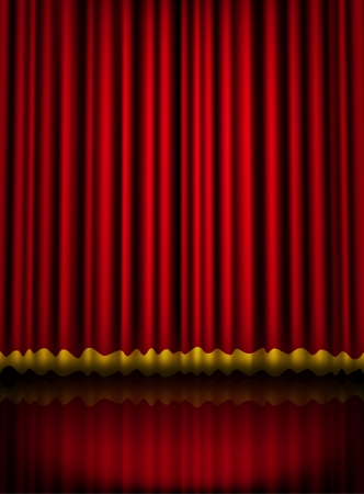 playhouse: Red velvet theater stage curtain with golden border. Vector eps10 illustration