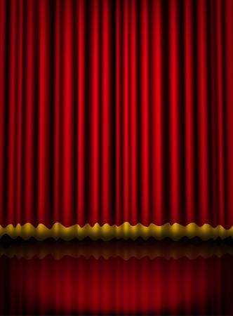 rideau sc�ne: Rouge rideau de sc�ne de velours th��tre avec liseret dor�. Vecteur eps10 illustration Illustration