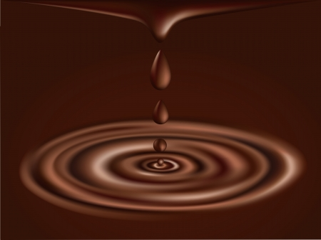 chocolate splash: Chocolate background. illustratrion of flowing liquid chocolate and drops