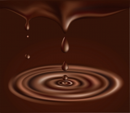 Chocolate background. illustration of flowing liquid chocolate and drops Vector