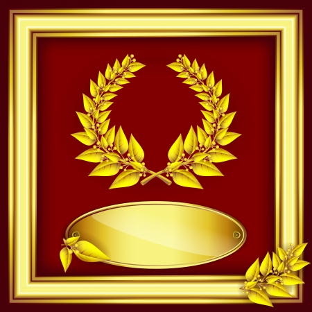 Award or jubilee certificate. Gold laurel wreath, label for text and frame on red velvet  Vector