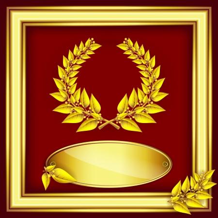 Prix ??ou un certificat du jubilé. Or couronne de laurier, l'étiquette pour le texte et le cadre sur le velours rouge