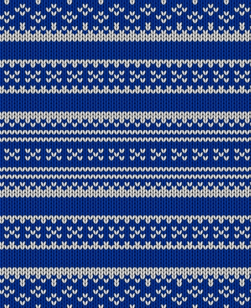 Knit texture. Fabric blue background with white ornament. Seamless vector pattern eps10 Vector