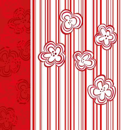 Abstract flower design for book cover, gift card or textile with red stripes. Vector pattern eps10 Vector