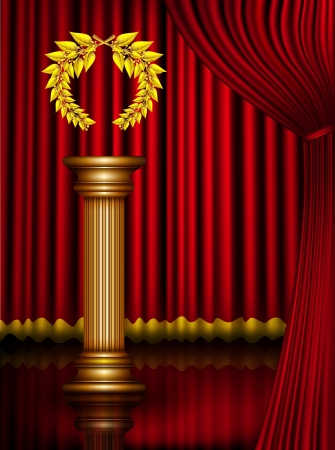 Award column with golden winner laurel wreath on theater stage with velvet curtain. Vector EPS10 illustration Vector