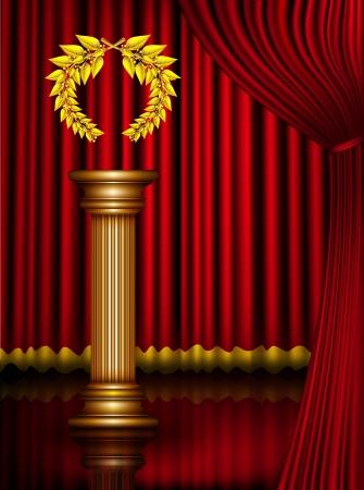 awards ceremony: Award column with golden winner laurel wreath on theater stage with velvet curtain. Vector EPS10 illustration Illustration