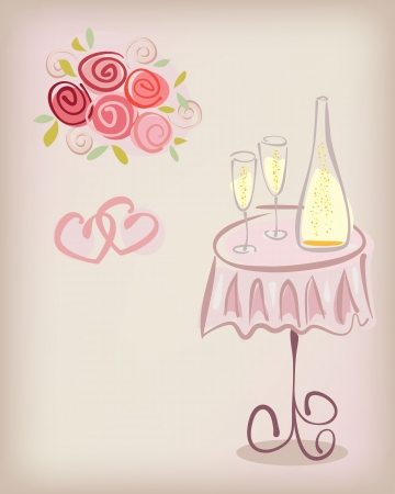 wedding bouquet: Love gift card with champagne glasses and rose flowers. wedding or valentine post card illustration Illustration