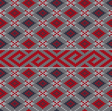 Knit texture. Fabric gray background with red geometric ornament Иллюстрация