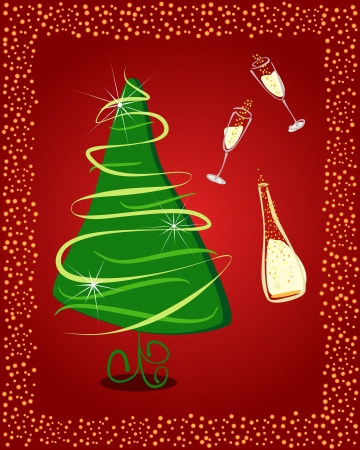 Happy New Year. Gift card with Christmas tree and champagne Vector