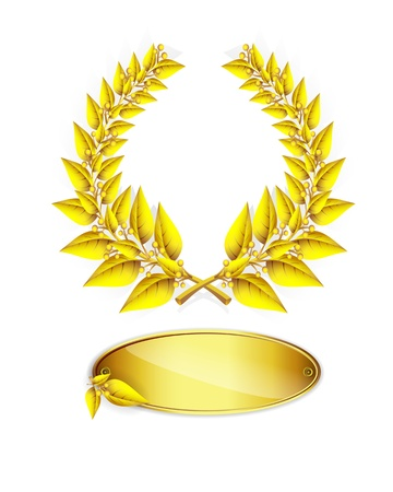 jubilee: Gold laurel wreath and label for jubilee text on white background