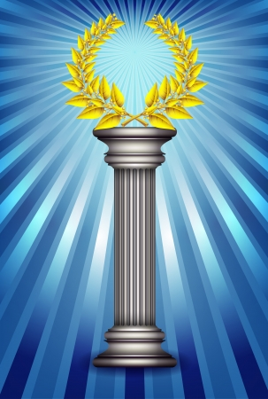 Award column with golden winner laurel wreath over sky blue rays background. Vector