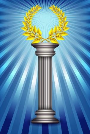 golden laurel wreath: Award column with golden winner laurel wreath over sky blue rays background. Illustration